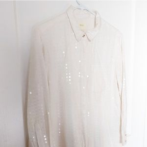 Maeve white clear sequin blouse.